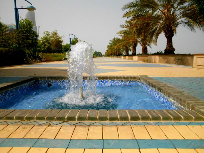 Fountain on the Corniche path