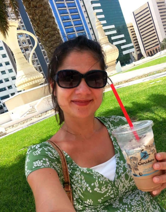 Drinking Caribou coffee in Abu Dhabi