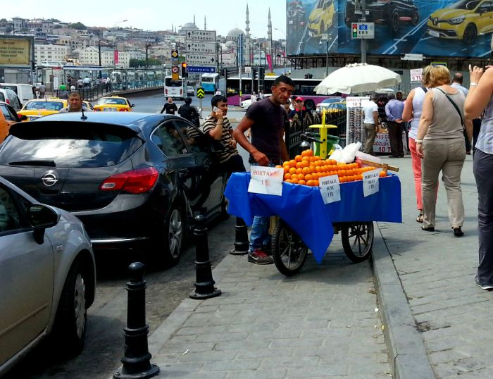 Orange juice vendor in Istanbul