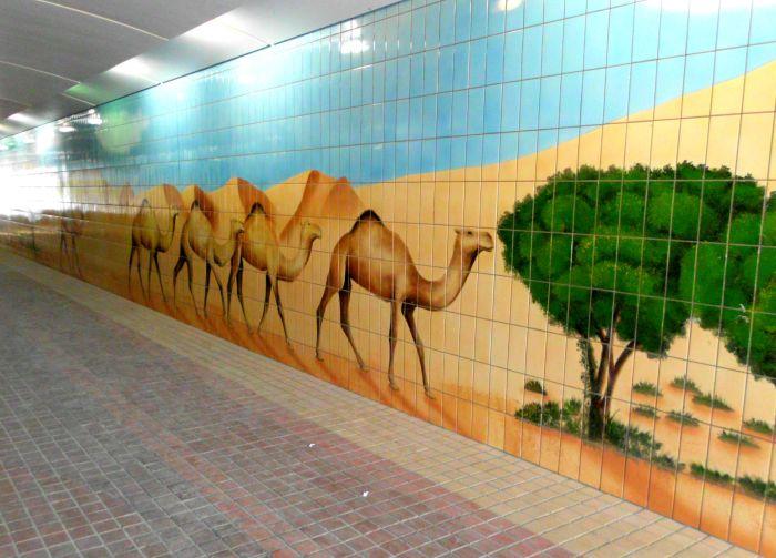 Tiles in a pedestrian underpass