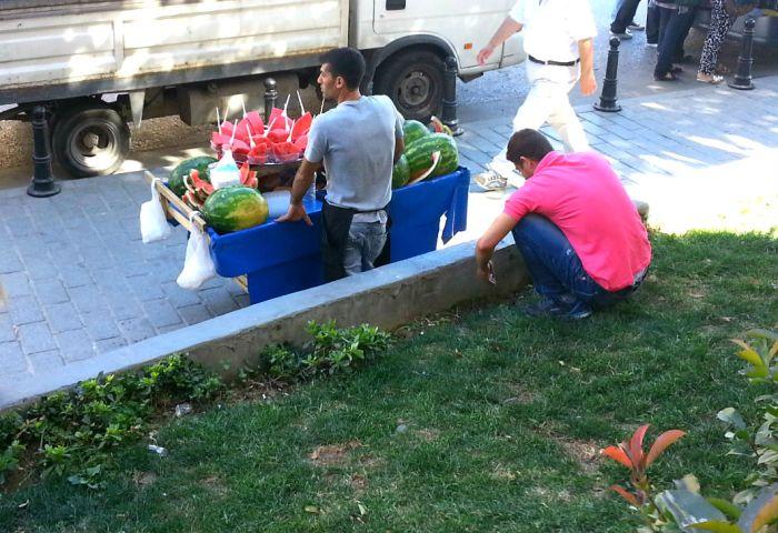 Watermelon vendor in Istanbul