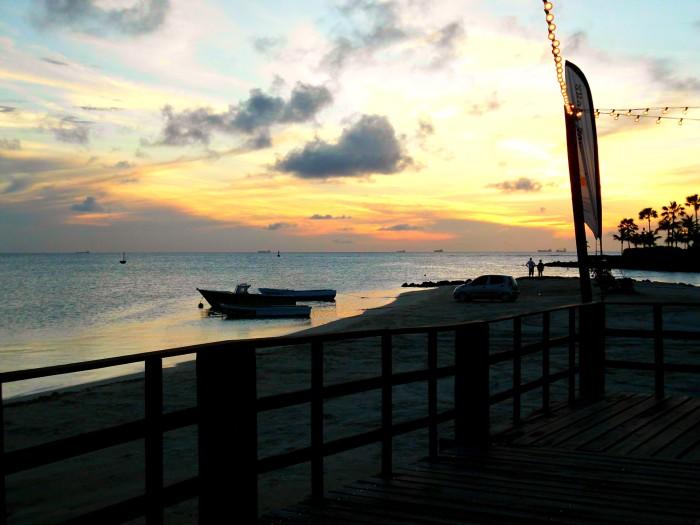 Beach view at West Deck in Oranjestad, Aruba
