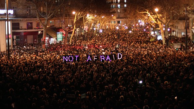 Paris on January 7, 2015 (photo via BBC News website)