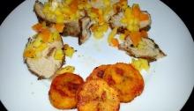 pork plantains and mango salsa