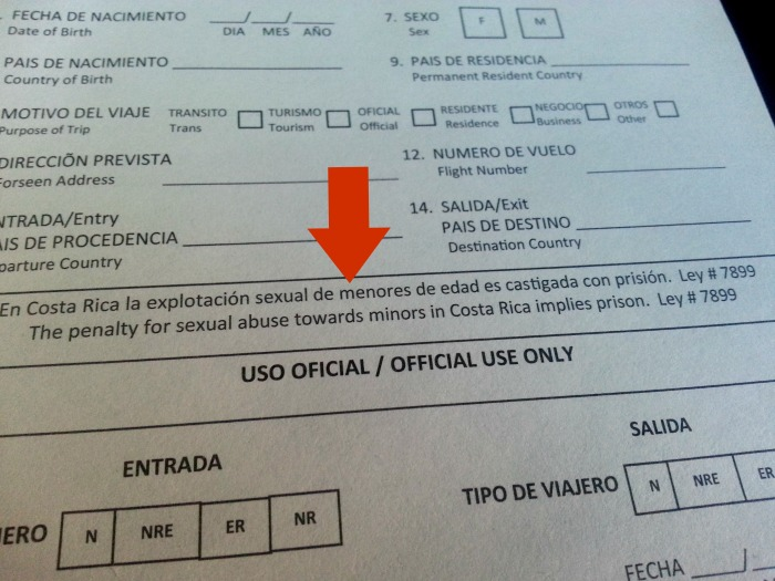 Costa Rica customs and immigration form