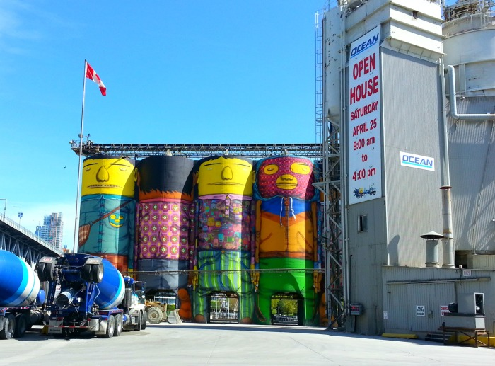 """Giants"" mural on Granville Island"