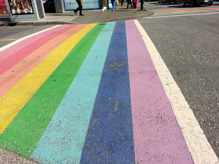 Rainbow crosswalks in Davie Village