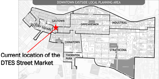 Vancouver's DTES Street Market (map via DTES Street Market website)