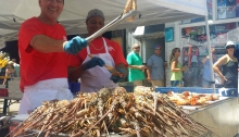 Grilling spiny lobster in Key West