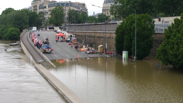 Seine River, Paris, flood, flooding, police, barriers