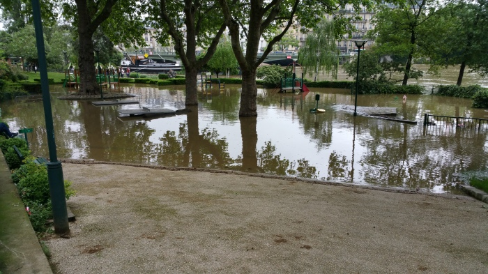 Seine River, Paris, flood, flooding, park, garden