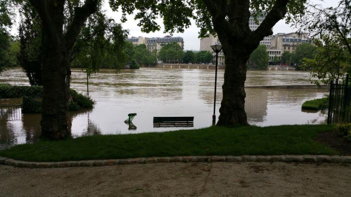Seine River, Paris, flood, flooding, park