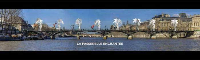 La Passarelle Enchantée by Daniel Hourdé on Pont des Artes in Paris. Photo via Daniel Hourdé Facebook page, © Woytek Mazurek et Daniel de Saint-Aubyn. Courtesy Galerie Agnès Monplaisir